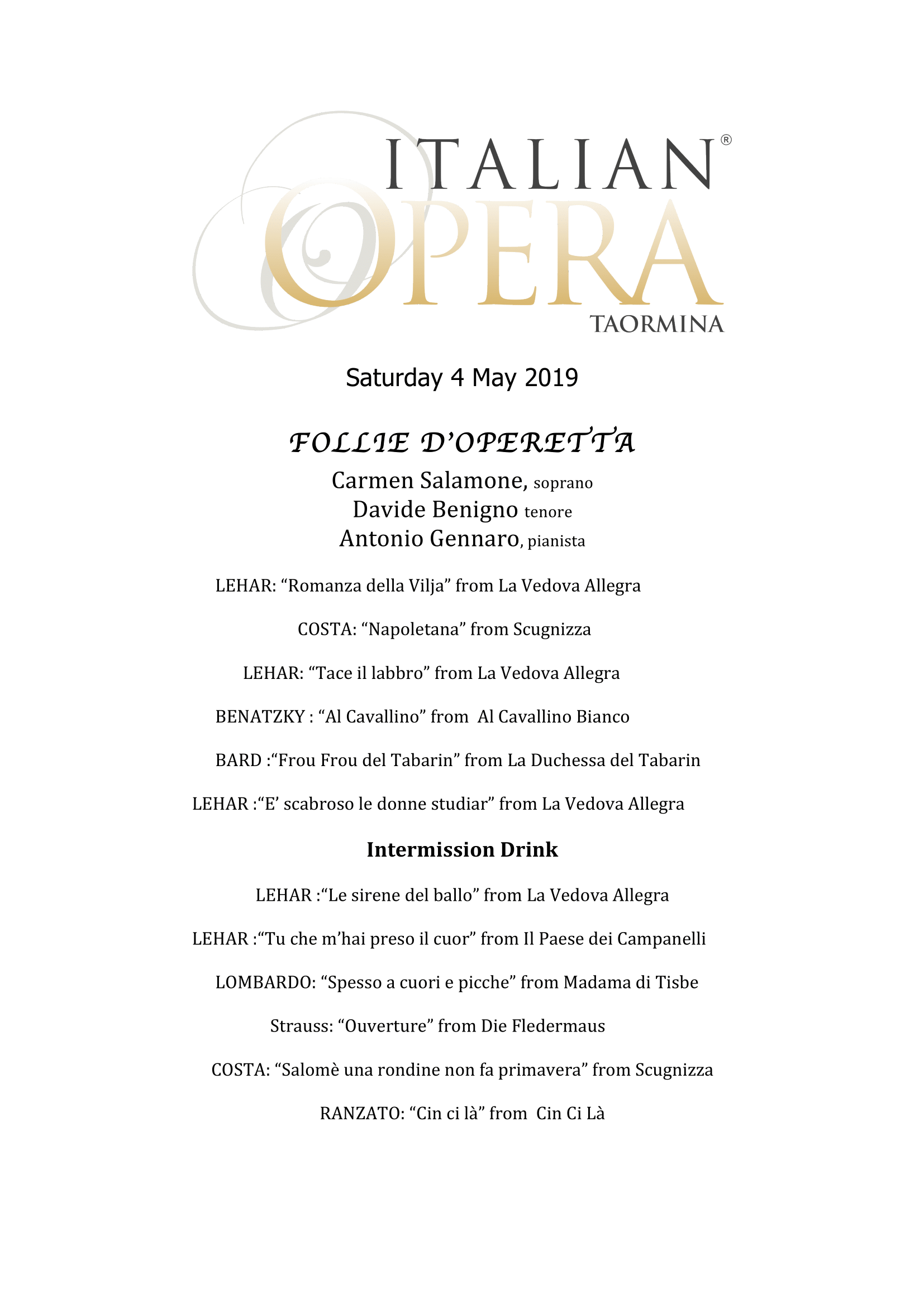 Italian Opera Taormina - 2019 - Taormina